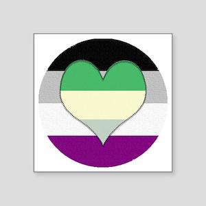 """Aromantic Asexual Heart #2 Square Sticker 3"""" x 3"""""""
