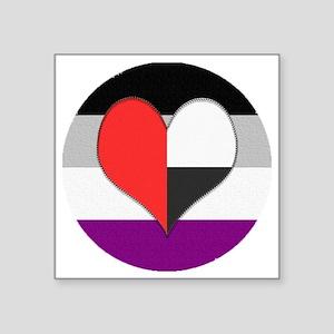 """Demiromantic Asexual Heart Square Sticker 3"""" x 3"""""""