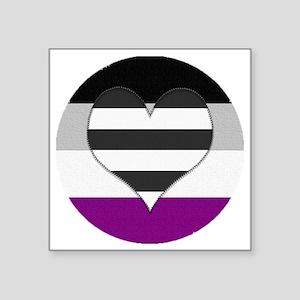"Heteroromantic Asexual Hear Square Sticker 3"" x 3"""
