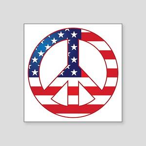 "American Flag Peace Sign Square Sticker 3"" x 3"""