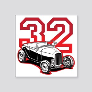 "red 32 ford Square Sticker 3"" x 3"""