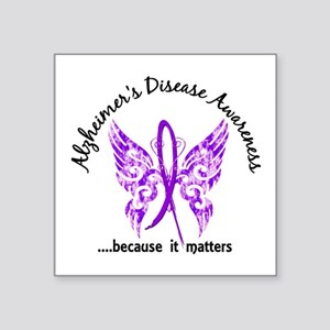 "Alzheimer's Disease Butterf Square Sticker 3"" x 3"""