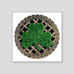 "Shamrock And Celtic Knots Square Sticker 3"" x 3"""