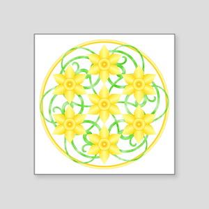 "Daffodils Mandala Square Sticker 3"" x 3"""