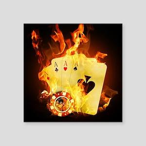 "Burning Poker Square Sticker 3"" x 3"""