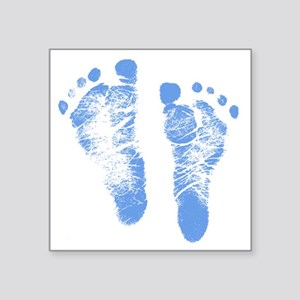 "Baby Boy Footprints Square Sticker 3"" x 3"""