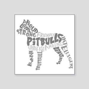 """Pit Bull Word Art Greyscale Square Sticker 3"""" x 3"""""""