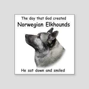 """God-Elkhound Tile Square Sticker 3"""" x 3"""""""