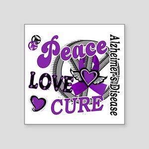 "D Alzheimers Peace Love Cur Square Sticker 3"" x 3"""