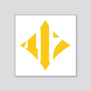 """412 White/Gold-W Square Sticker 3"""" x 3"""""""