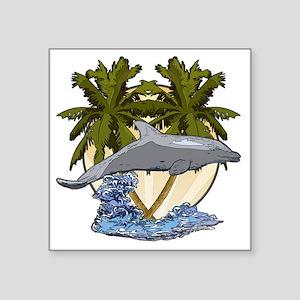 "Dolphin palms Square Sticker 3"" x 3"""