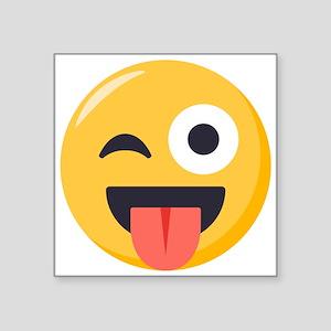 "Winky Tongue Emoji Square Sticker 3"" x 3"""
