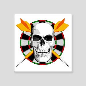"""Darts_skull_blk Square Sticker 3"""" x 3"""""""