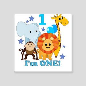 First Birthday Jungle Square Sticker