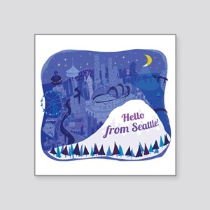 Seattle and Mount Rainier landscape Sticker