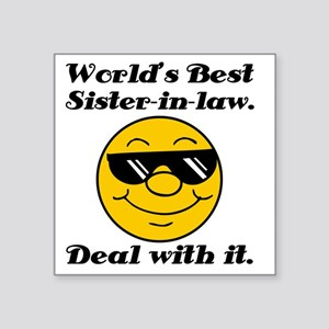 """Worlds Best Sister-In-Law H Square Sticker 3"""" x 3"""""""