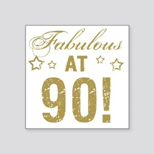 "Fabulous 90th Birthday Square Sticker 3"" x 3"""