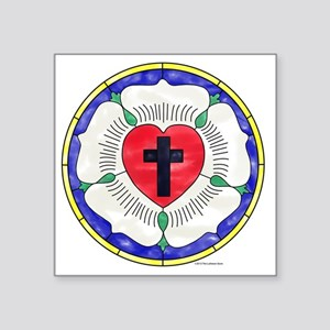 """Luther Seal Stained Glass M Square Sticker 3"""" x 3"""""""