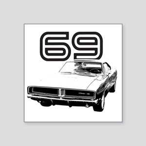 "1969 Charger 03 Square Sticker 3"" x 3"""