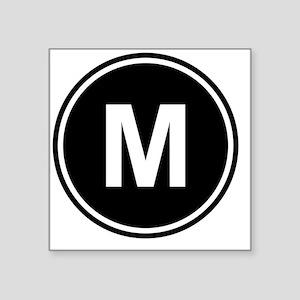 "Letter M Monogram Square Sticker 3"" x 3"""