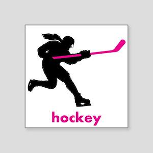 "Play Hockey Square Sticker 3"" x 3"""