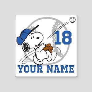 """Snoopy Baseball - Personali Square Sticker 3"""" x 3"""""""