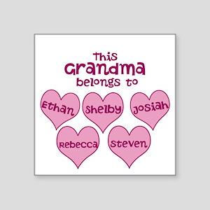 """Personalized Grand kids hearts Square Sticker 3"""" x"""
