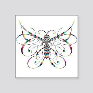 """Rainbow Butterfly Square Sticker 3"""" x 3"""""""