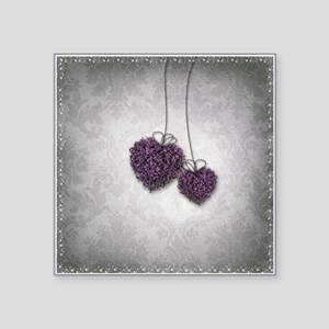 "Purple Hearts Square Sticker 3"" x 3"""