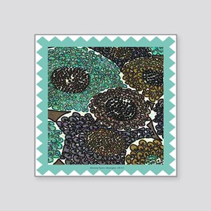 "Awesome Teal Zinnias Square Sticker 3"" x 3&qu"