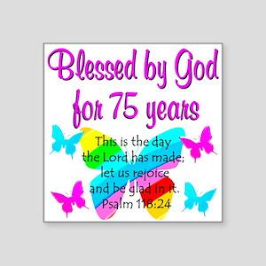 "75 YR OLD ANGEL Square Sticker 3"" x 3"""