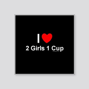 """2 Girls 1 Cup Square Sticker 3"""" x 3"""""""