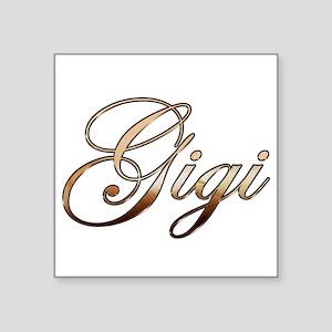 """Gold Gigi Square Sticker 3"""" x 3"""""""