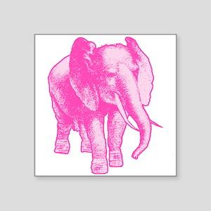 "Pink Elephant Illustration Square Sticker 3"" x 3"""