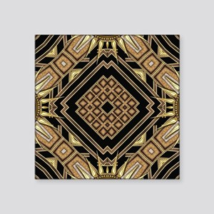 "Art Deco Black Gold 1 Square Sticker 3"" x 3"""