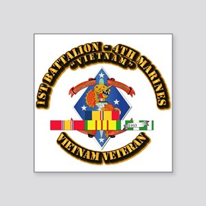 1st Bn - 4th Marines w VN SVC Ribbon Square Sticke