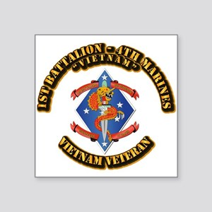 "1st Bn - 4th Marines Square Sticker 3"" x 3"""