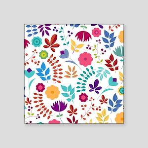 "Cute Whimsical Floral Boho Square Sticker 3"" x 3"""