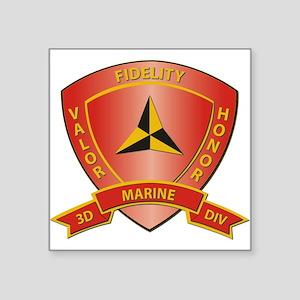USMC - HQ Bn - 3rd Marine Division Square Sticker