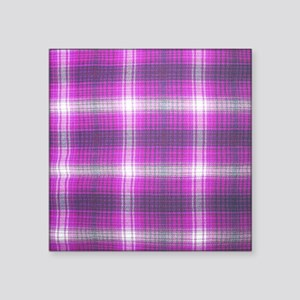 "Girly, Pink Plaid, Square Sticker 3"" x 3"""