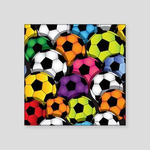 """Colorful Soccer Balls Square Sticker 3"""" x 3"""""""