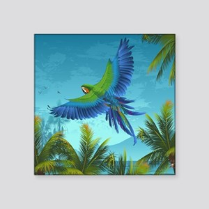 "Tropical Bird Square Sticker 3"" x 3"""