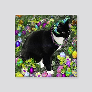 "Freckles the Tux Cat in Eas Square Sticker 3"" x 3"""