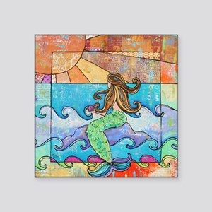 """Colorful Mermaid at Sunset  Square Sticker 3"""" x 3"""""""