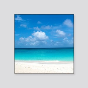 "Tropical Beach View Cap Jul Square Sticker 3"" x 3"""