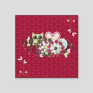 "Owl Heart Flowers Square Sticker 3"" x 3"""