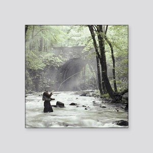 "Fly Fisherman in Misty Stre Square Sticker 3"" x 3"""