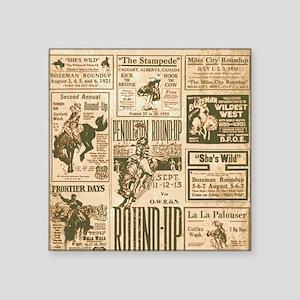 "Vintage Rodeo Round-Up Square Sticker 3"" x 3"""