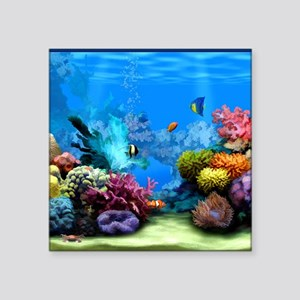 "Tropical Fish Aquarium with Square Sticker 3"" x 3"""