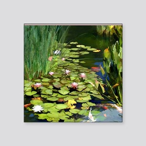 """Koi Pond and Water Lilies c Square Sticker 3"""" x 3"""""""